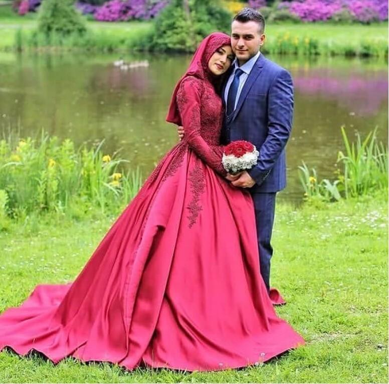 Vestido Novia 2018 Long Sleeve Muslim Wedding Dress Fuchsia Satin ...