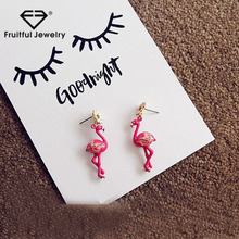 2017 Luxury silver animal earring sunflower stud pink stand crane women girl gift party jewelry charm earring