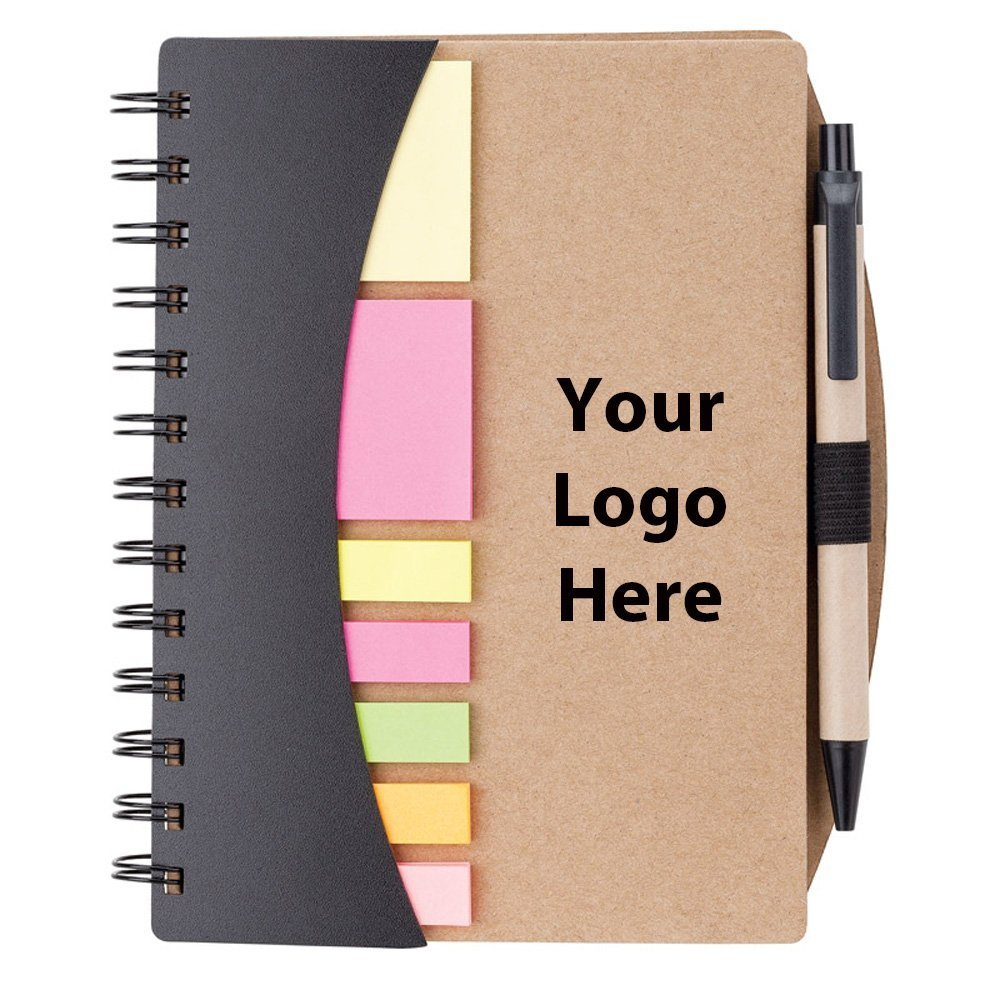 Mini Journal with Pen, Flags & Sticky Notes - 50 Quantity - $3.30 Each - PROMOTIONAL PRODUCT / BULK / BRANDED with YOUR LOGO / CUSTOMIZED