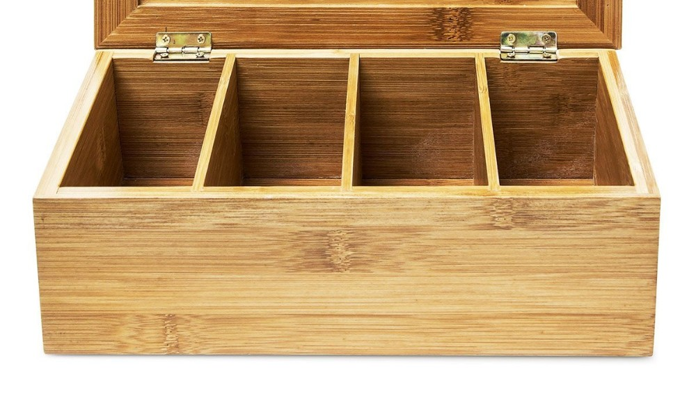 High Quality Custom Bamboo Wood Tea Bag Box Organizer 3