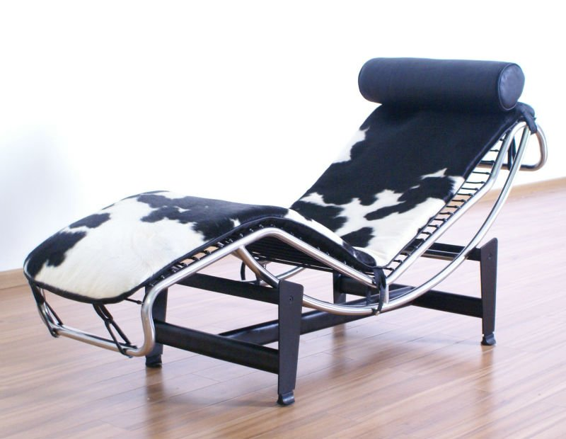 8034# chaise lounge in black&white pony skin