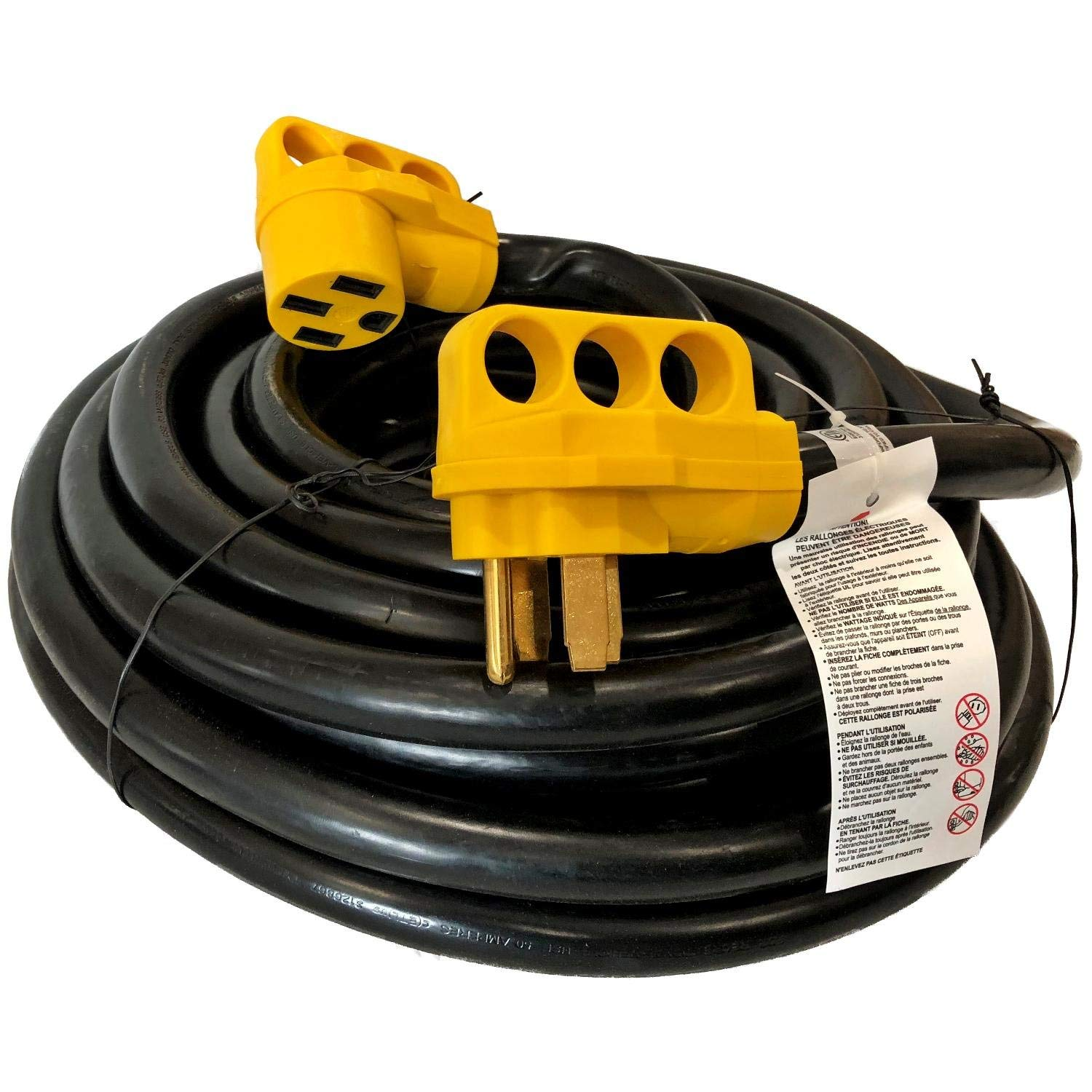 50 Ft RV Extension Cord 50 Amp Power Supply Cable W/Handles for Trailer Camper