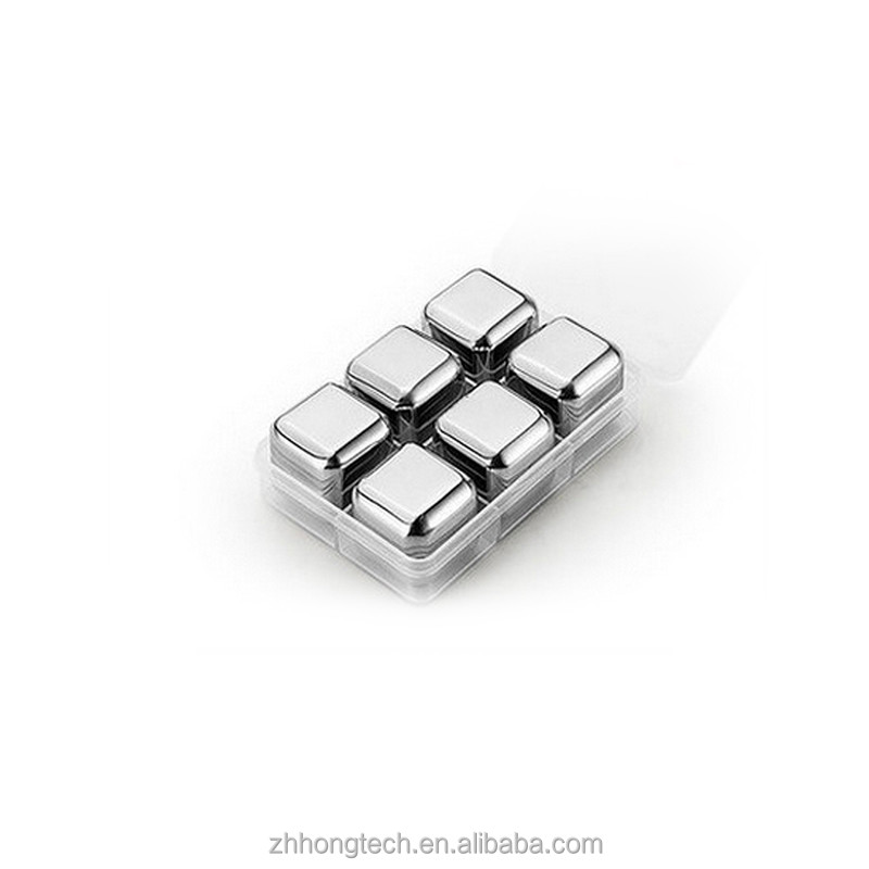 Wholesale 6PCS Stainless Steel Whiskey Stones, Stainless Steel Ice Cube for <strong>Wine</strong>