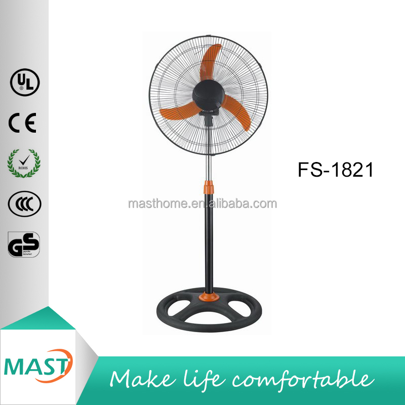 50W 18 inch 3 Orange ABS Blades 4 Holes Round Base Adjustable Height Oscilating Electricity Industrial Fan