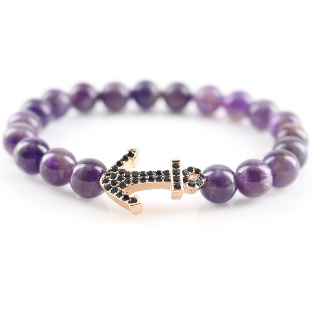 638e60ad43e7 De las mujeres con cuentas pulsera con piedra natural Amethyst púrpura  perlas y oro plateado ancla