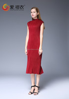 Deep red Indian designer sleeveless long jumper dress for ladies