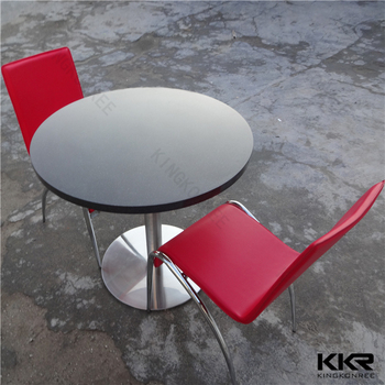 Luxury Round Cafe Table , White Stone Table Top