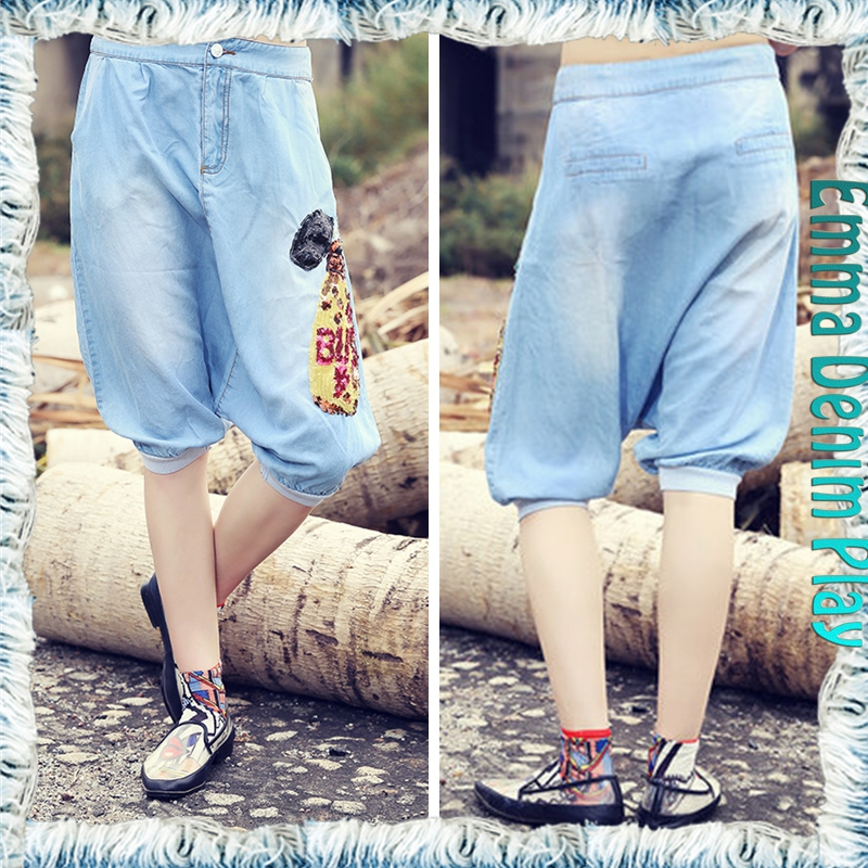 Womens Fashion Hip Hop Low Crotch Denim Blue Half Capri Jeans