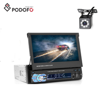 "Podofo Car Stereo Radio Player Bluetooth 1Din 7"" HD Retractable Touch Screen Monitor DVD MP5 Player + 8 IR Rear View Camera"