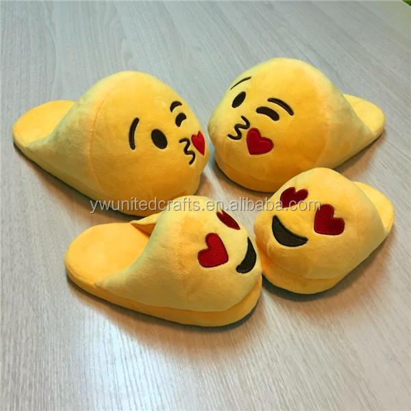Girls Indoor Bedroom Fluffy Slippers Emoji - Buy Lovely Emoji ...