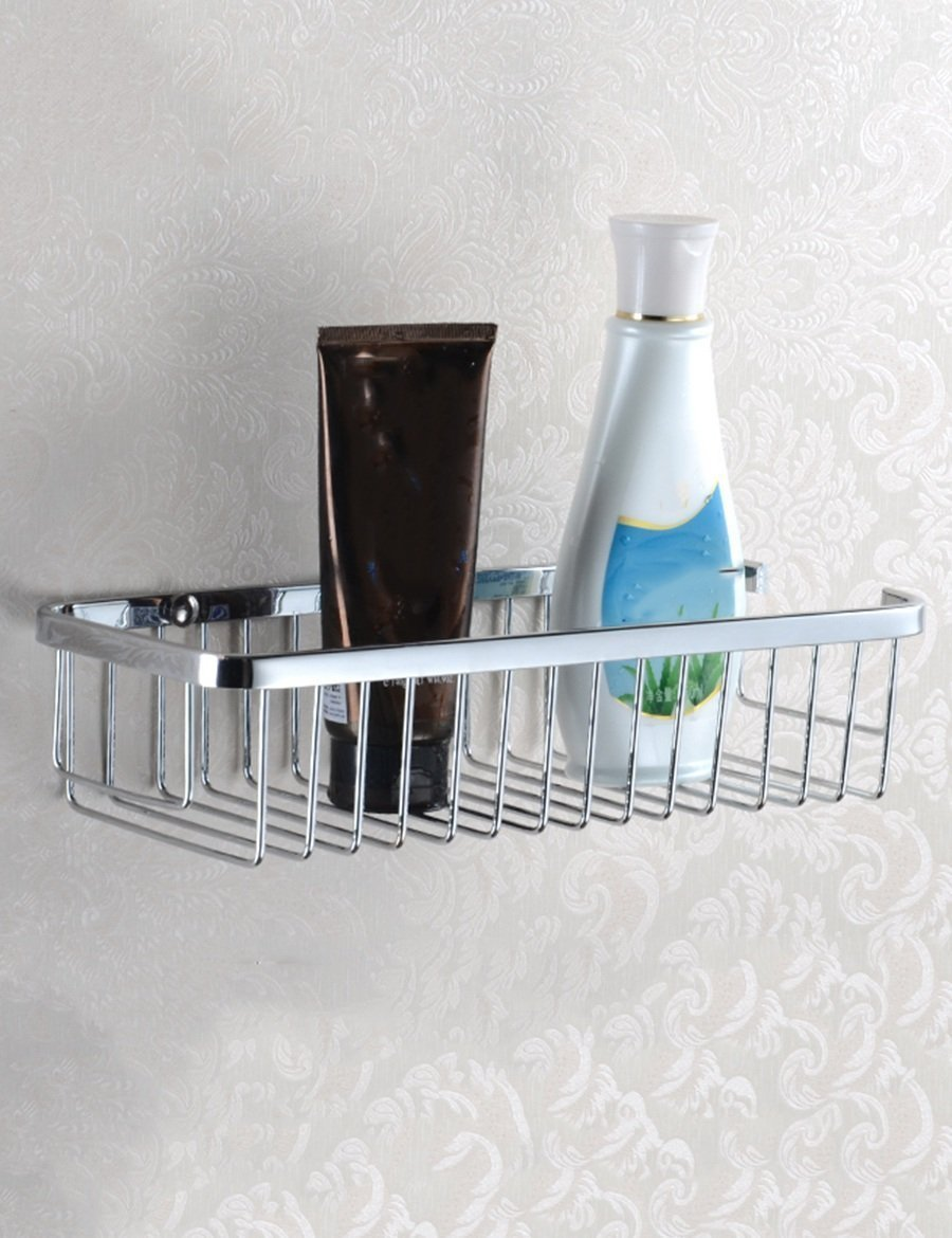Home bath rooms shelf stainless steel shelf bathroom baskets of rectangular shape wall shelves WC kitchen shelves to the wall assemblies quality shelving A++++ (Size: 30 cm).