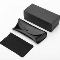 Wholesale Eyeglasses Bag Accessories Logo Print Black Leather Sunglasses Packing Box with Microfiber Cloth Custom Sunglass Case