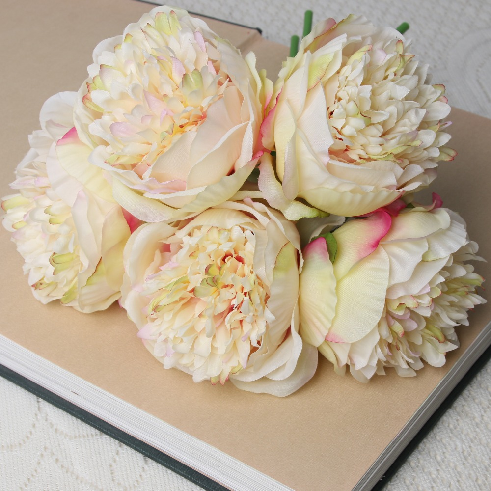 Modern artificial flower real touch 5 heads royal peony,silk peony