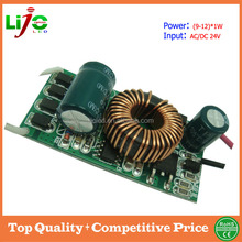 High quality supplier (9-12)*1w 24v 300ma constant current built-in ic led driver for led bulb solar light power supply