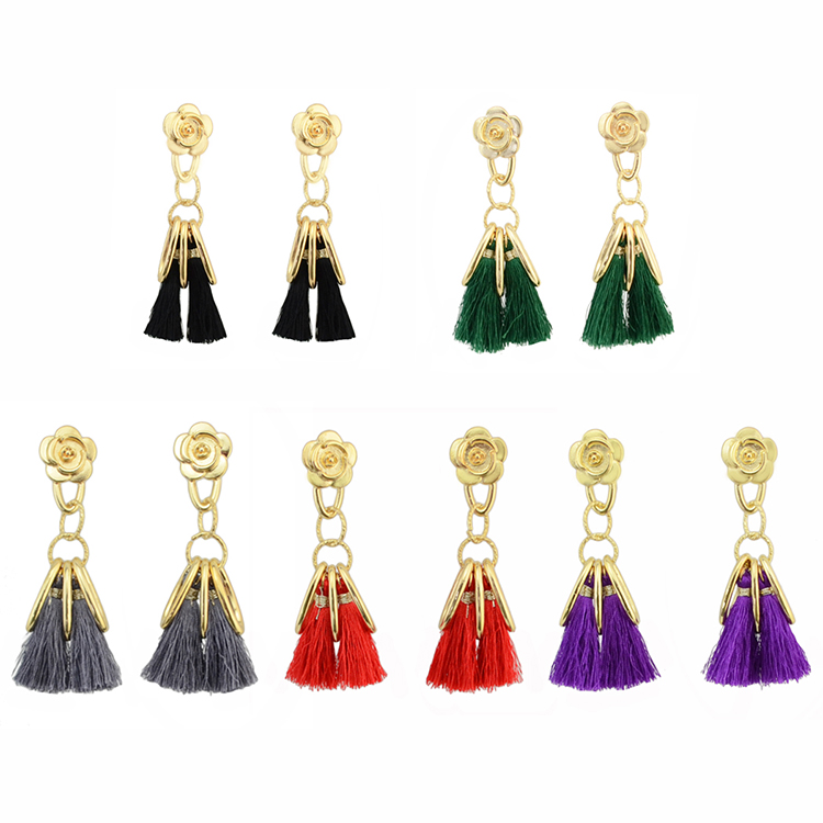 Ladies Gold Plated <strong>Rose</strong> <strong>Flower</strong> Rings Thread Tassel <strong>Earrings</strong>
