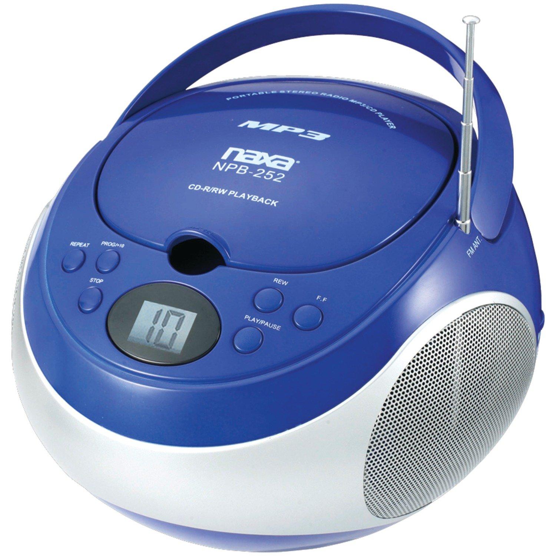 NAXA Electronics Portable MP3/CD Player with AM/FM Stereo Radio (Blue)