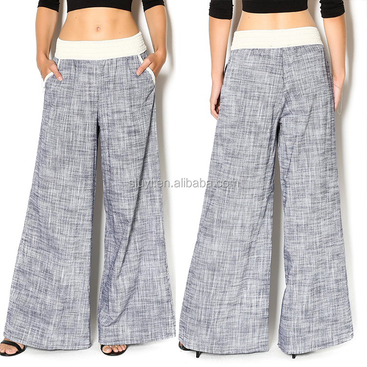 new arrival best quality linen palazzo pants fashion cutting women linen cotton ladies wide leg pants casual loose