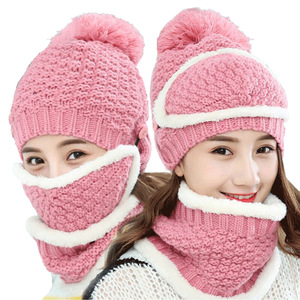 951aba77c0e Winter fashion woman wool mask scarf three-piece knit hats sets ladies  outdoor cycling windproof