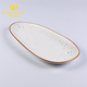 Wholesale price porcelain ceramic white color with blue spots dinner sushi long plate