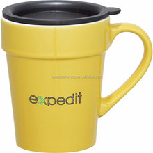 [ZIBO HAODE CERAMICS]yellow coffee cup manufacturer ceramic mug with silicone lid