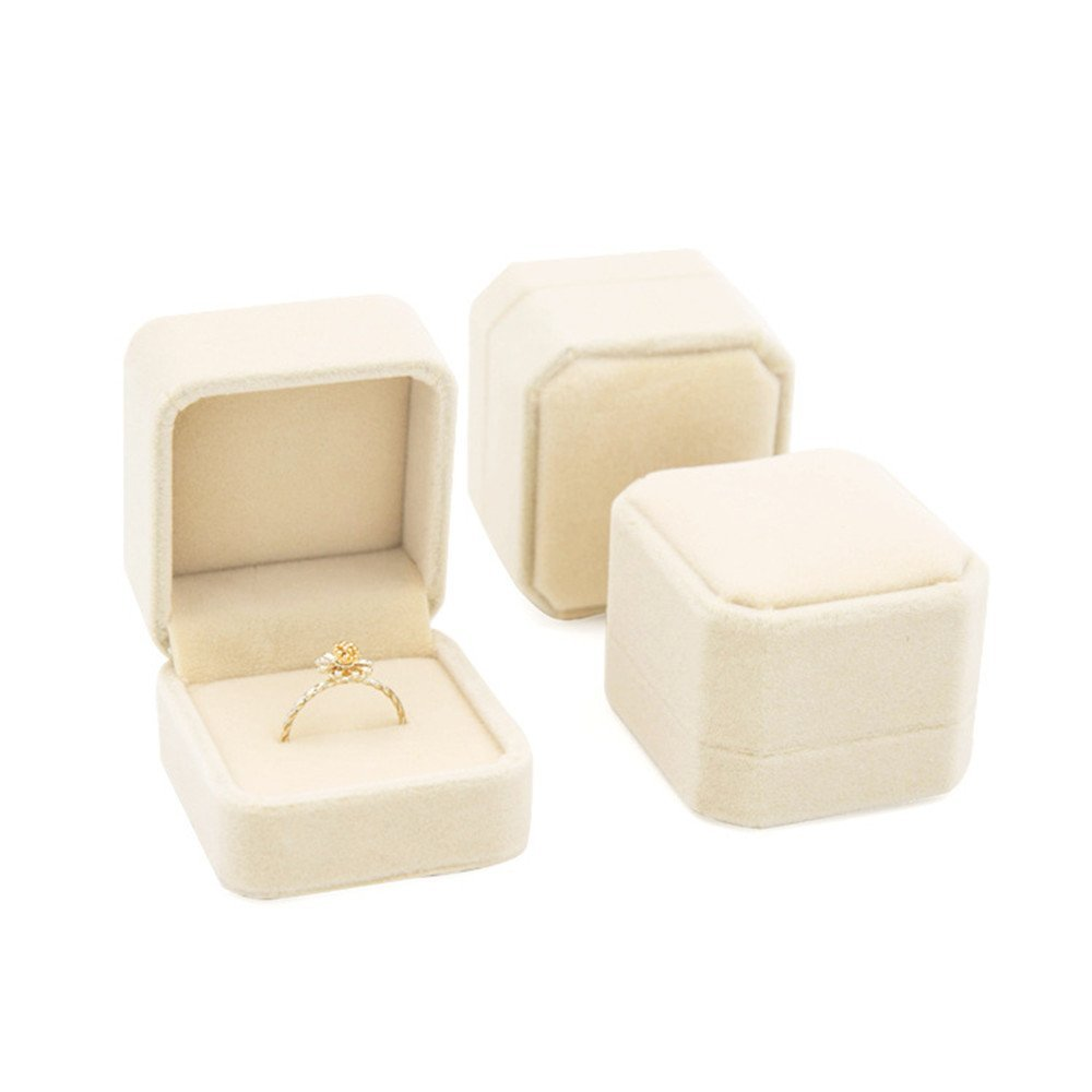 INSANEY Black Velvet Couple Ring Boxes Jewlery Boxes,Jewlery case (Beige)