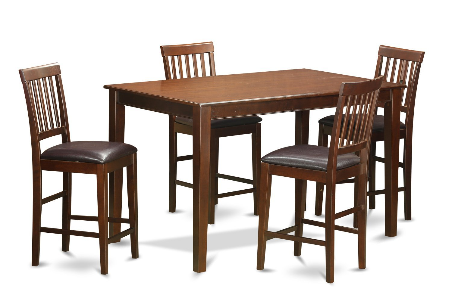 East West Furniture DUVN5H-MAH-LC 5-Piece Gathering Table Set, Mahogany Finish