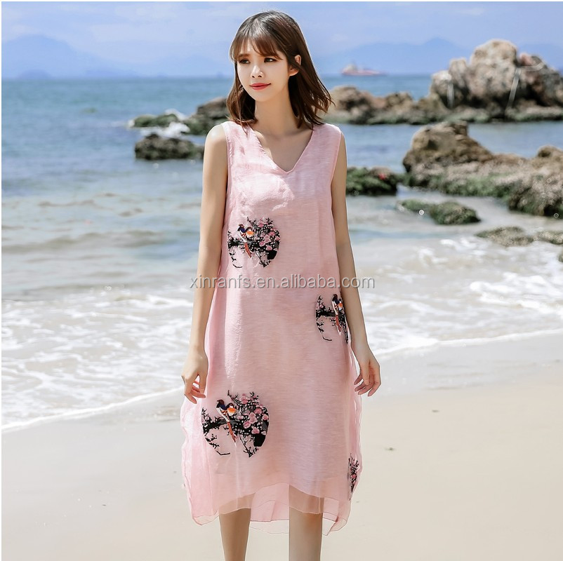 oem dress embroidered womens slip dress