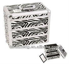 Interchangeable E Series Artist Cosmetic Storage Organizer Travel Train Carry Case,w/PVC Animal Print & Alu Frame, RZ-A05N