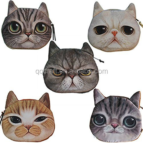 Vintage 3D Cute Cat Face Cosmetic Makeup Storage Children Bag Pouch Case Purse