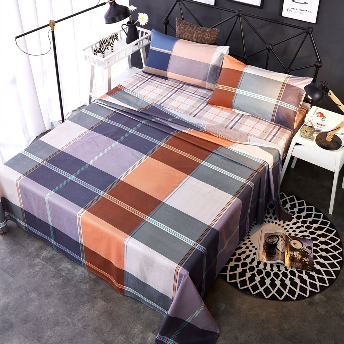 Uxcell Bed Sheets,100% Cotton Checkered Bed Sheet Sets,luxury Bedding Sheets ,
