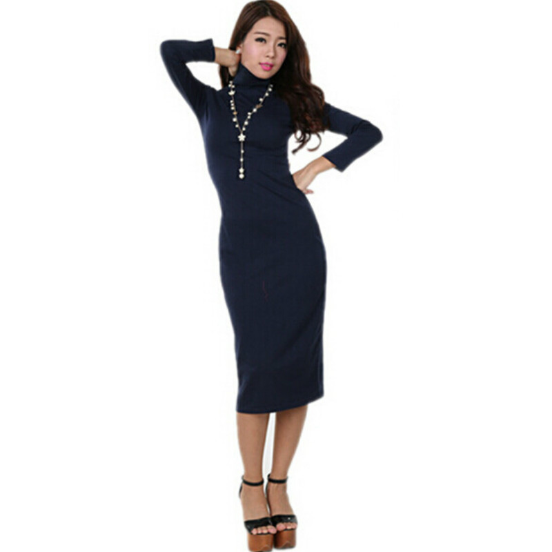 New 2015 Autumn Winter Women Dress To keep warm Vestidos Dress Fashion Casual Slim Long sleeve Basic Plus Size XXL Casual Dress