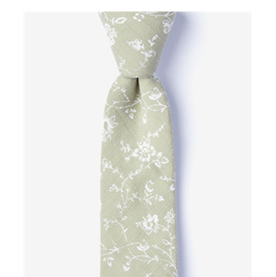 Men's <strong>Blue</strong> <strong>Flowers</strong> Pattern Bexley Cotton Skinny Necktie <strong>Tie</strong>