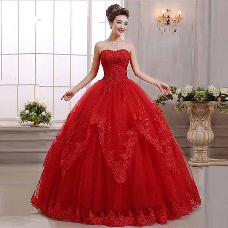 Red Ball Gown Wedding Dresses: Lace Red Ball Gown Princess Wedding Dress 2016 Crystal