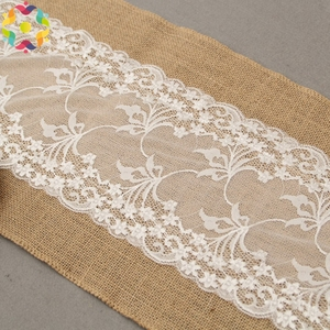 factory wholesale universal fancy dining white Jute white flower lace linen burlap table runner for rectangle tables