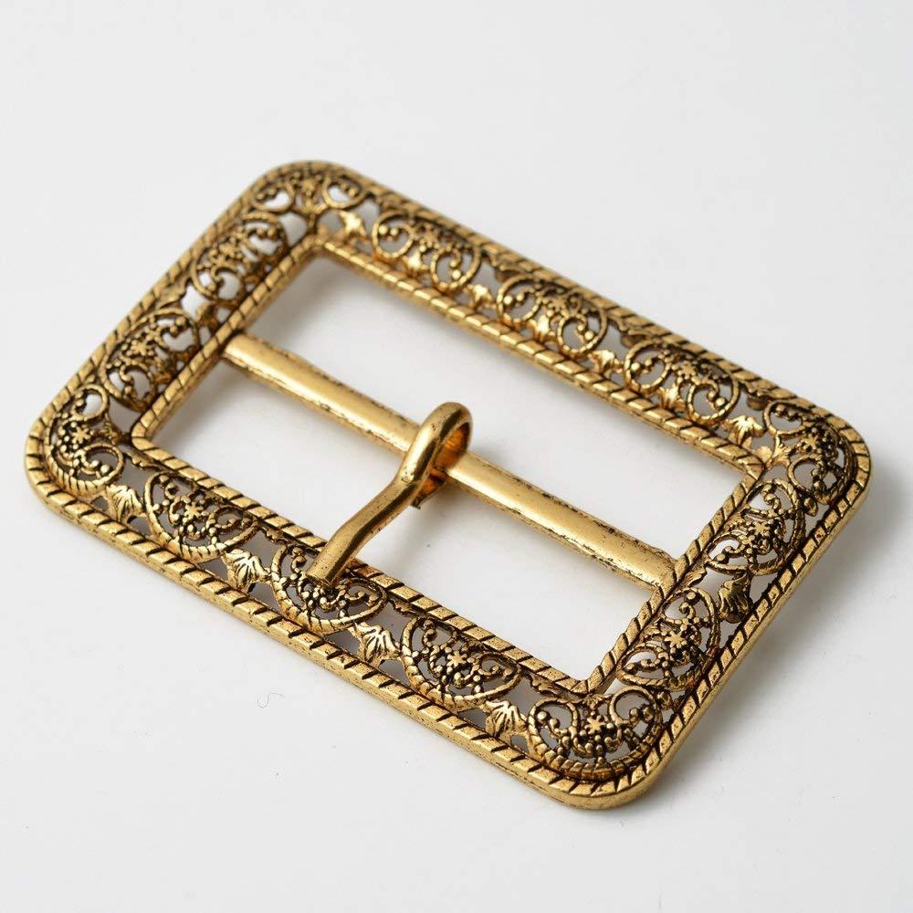 "Vintage Metal Filigree Belt Buckle, Vintage Fashion Jewelry, 2-3/4"" x 1-7/8"" by 1 pc, Antique Gold, TR-11037"