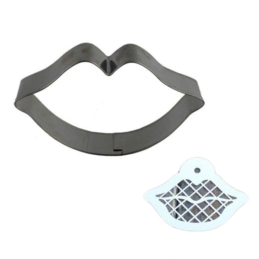 Stainless Steel Cookie Cutter Mold + Appropriate Cookie Spray/Brush Pattern 32# LIP