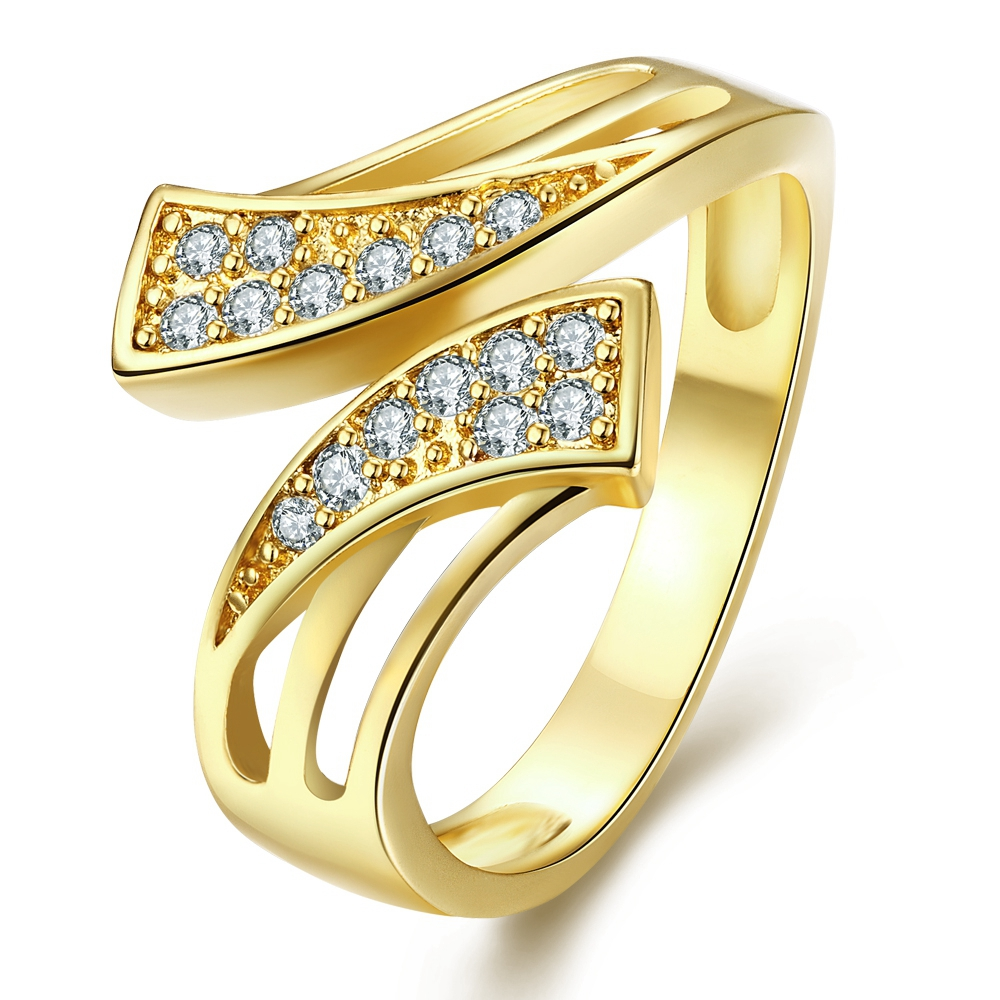 Family Ring Trendy Unique Geometric Design India CZ Diamond 18K Gold Plated Rings Fashion Women Wrap Ring for Party Jewellery