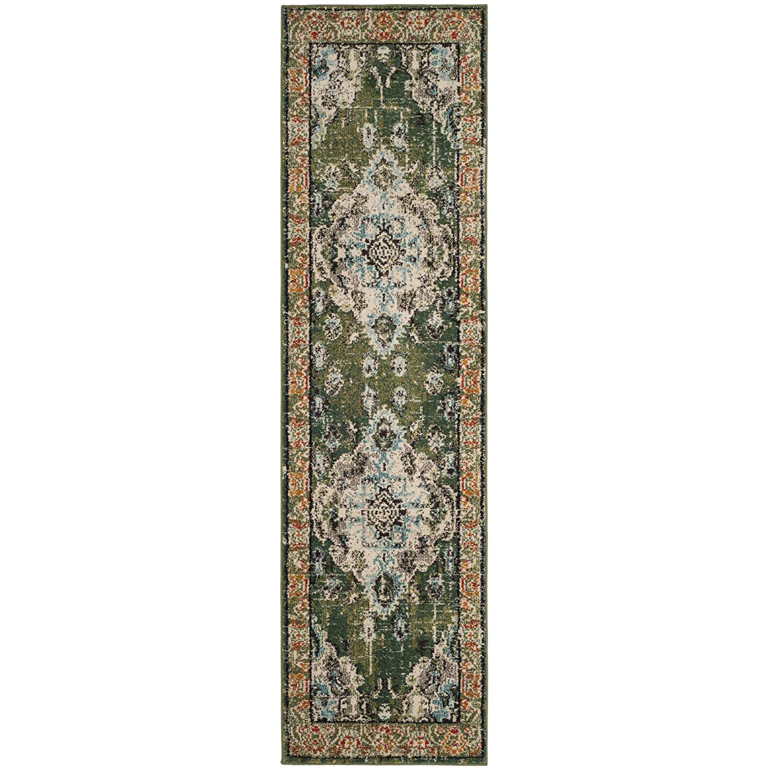 1e23db96588 2 2 x 8  Green Light Blue Oriental Runner Rug Rectangle