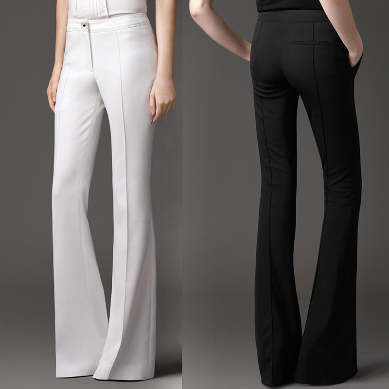 Italian Brand Design Mid Waist Slim Stretch Flare Pants