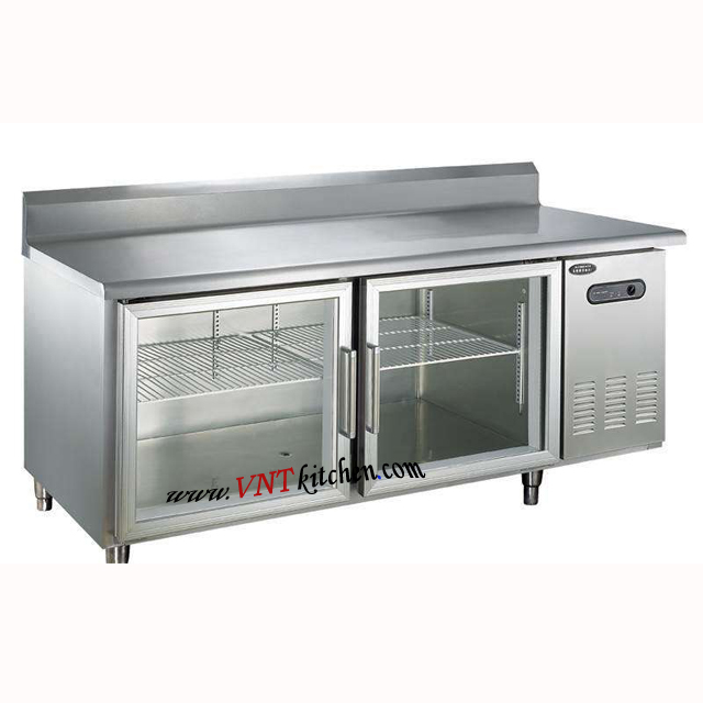 Stainless Steel Kitchen Worktable Refrigerator / Work Bench Cooler / Fridge Counter Chiller with Cabinet