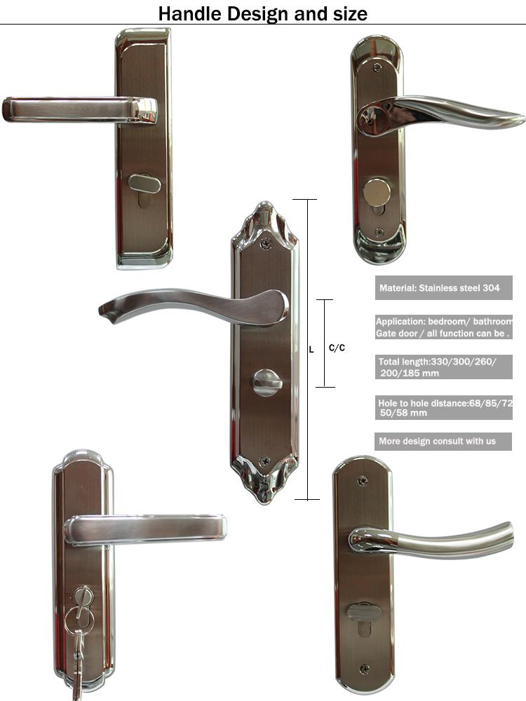 Durable Anti-theft Stainless Steel 304 Wooden Door Lock with 70mm Double Cylinder Door Lock Body