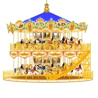 luxury happy merry to go round horse 30 years experienced factory manufacture amusement ride romantic double layer carousel