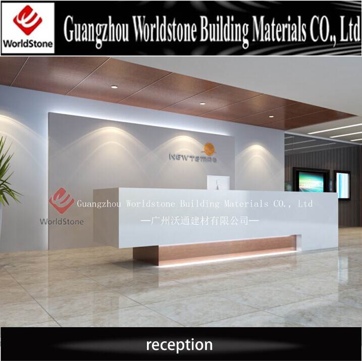 Customized design artifical marble modern hotel front for Hotel table design