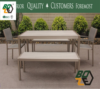 Aluminum Dining Bench And Table Outdoor Garden Furniture Restaurant Wood Chair
