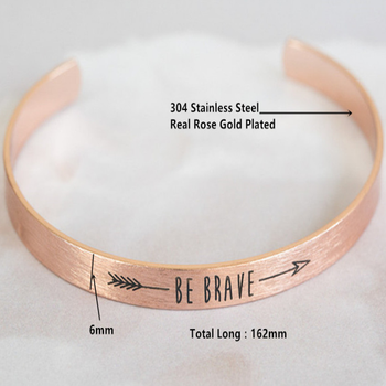 Be Brave Inspirational Quote Bracelets Women Men S Jewelry Gift Letter Arrow Bangle Arm Cuff Bracelet