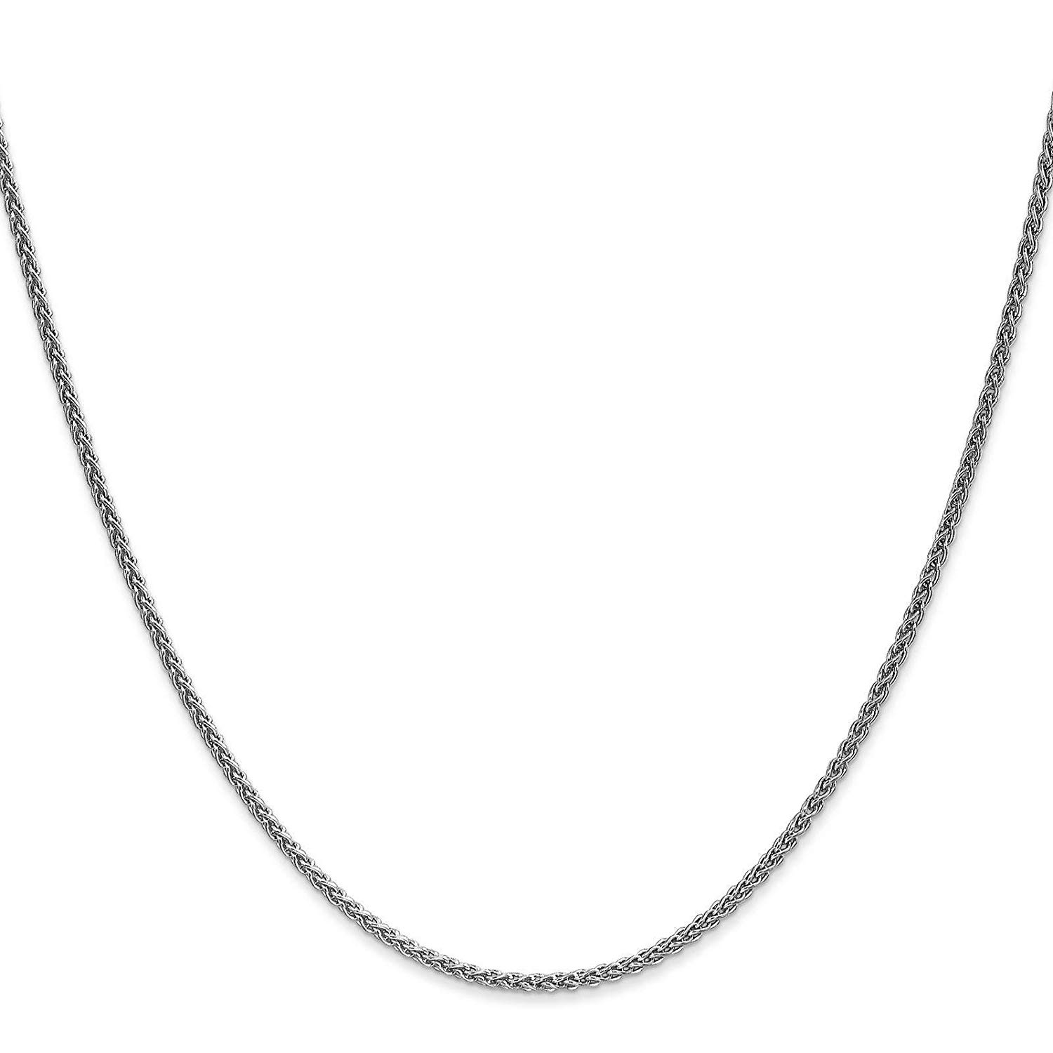 "14k White Gold 1.5mm Solid Polished Spiga Chain Necklace Bracelet Anklet 6"" - 30"""