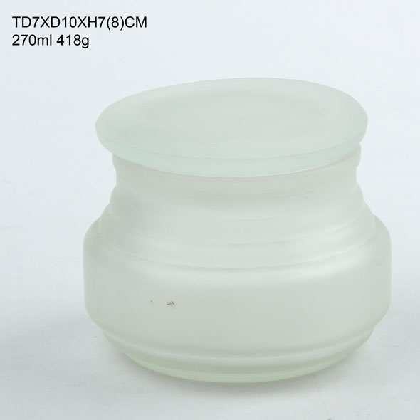 270ml big belly glass storage jar with frosting/clear