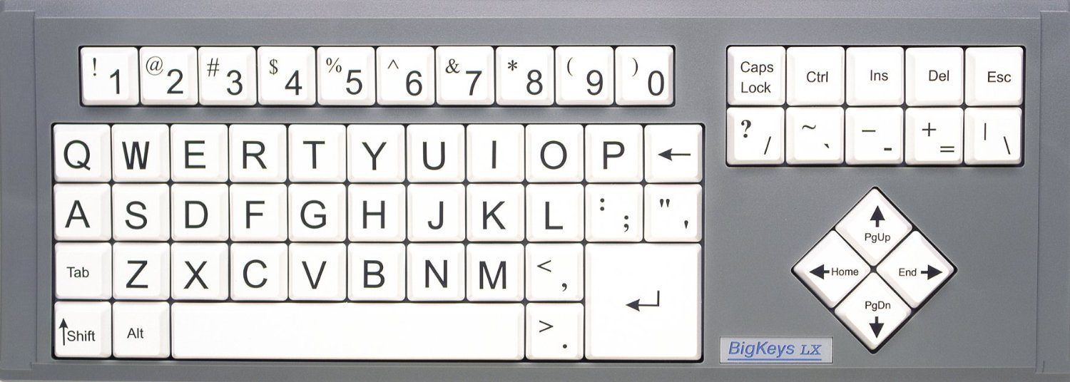 for Visually Impaired Individuals Imposing Vivid Black Over-sized Letters on White White Keys with Keyboard Jumbo Oversized Print Letters BigKeys LX Large Print Computer Keyboard USB Wired Low Vision or Low Light for Seniors and People with Bad Vision