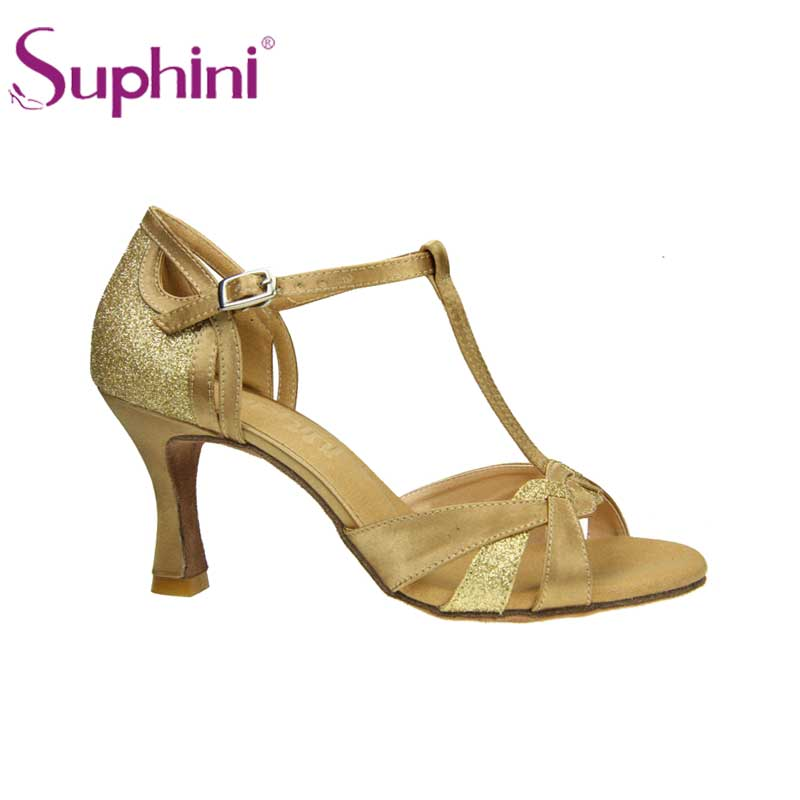 d521bebbe Suphini Gold Glitter And Satin Ladies Shoes For Latin Ballroom Dance - Buy  Ladies Ballroom Dance Shoes,Wholesale Cheap Dance Shoes,Deep Tan Satin High  Heel ...