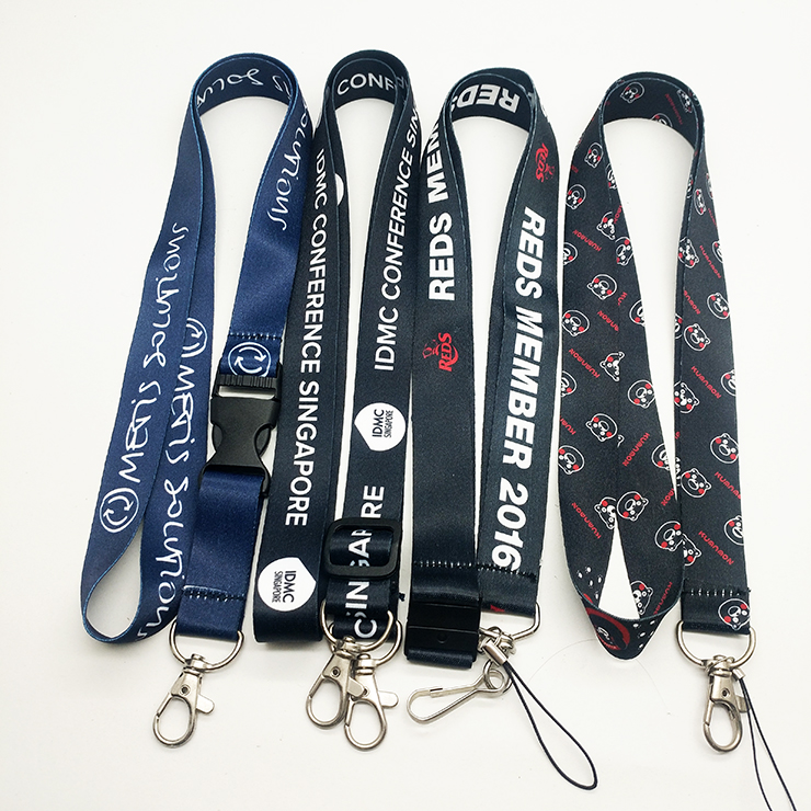 logo branded silk screen id card lanyard with retractable buckle